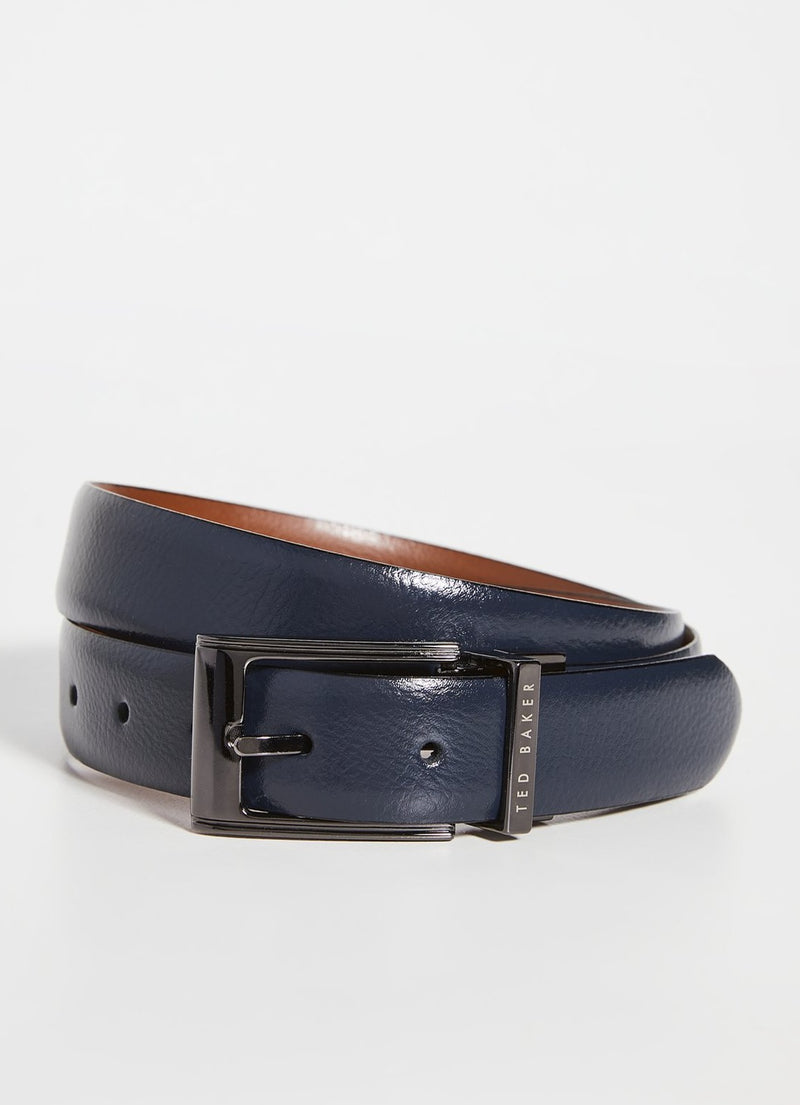 Reversible Leather Belt- Navy/Tan
