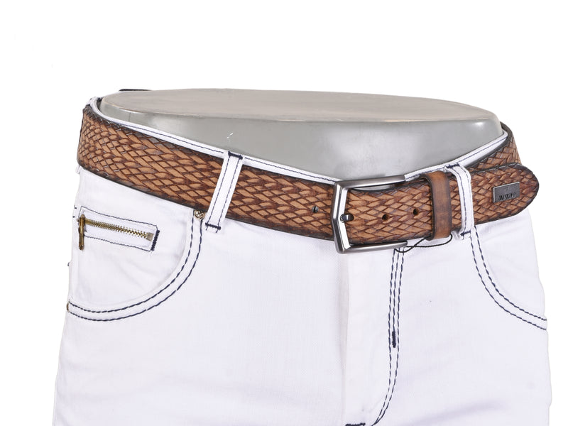 Textured Leather Belt- Brown