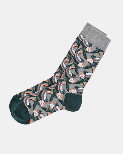 Ted Baker | Cotton Blend Fish Print Socks- Grey