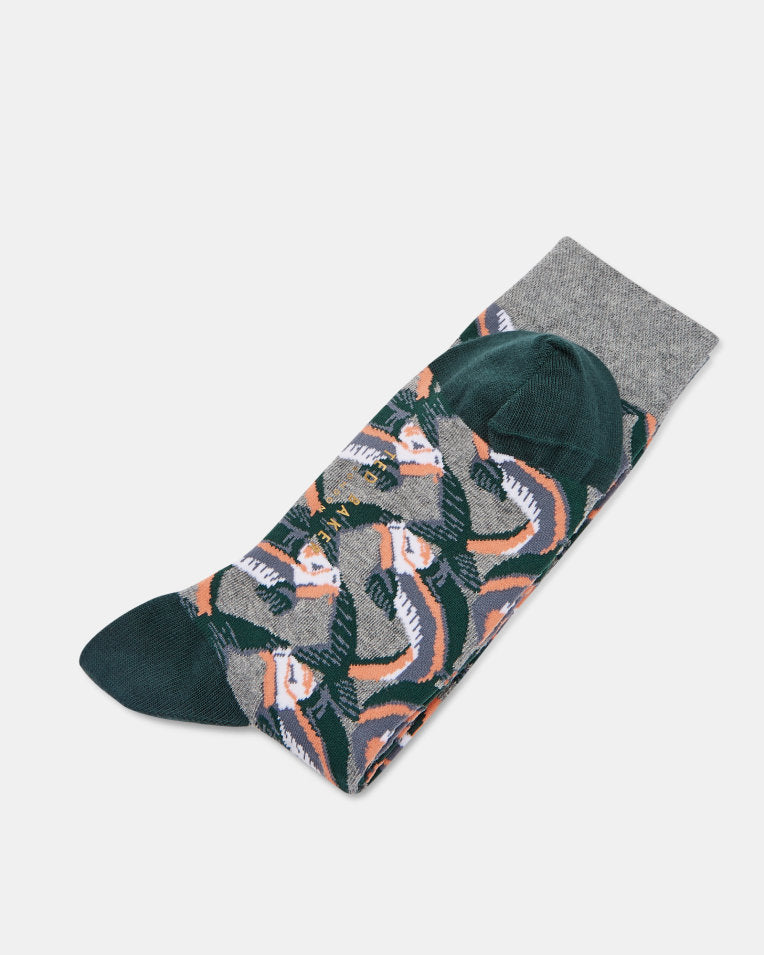 Cotton Blend Fish Print Socks- Grey