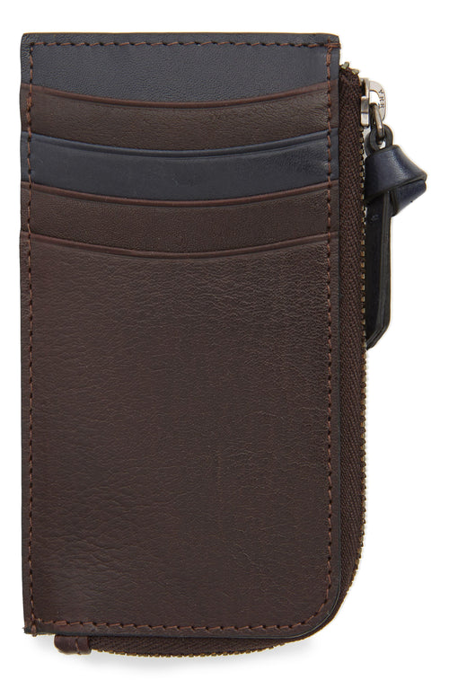Leather Zip Up Cardholder- Chocolate Brown