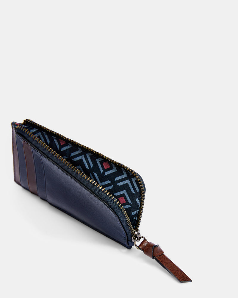 Leather Zip Up Cardholder- Navy