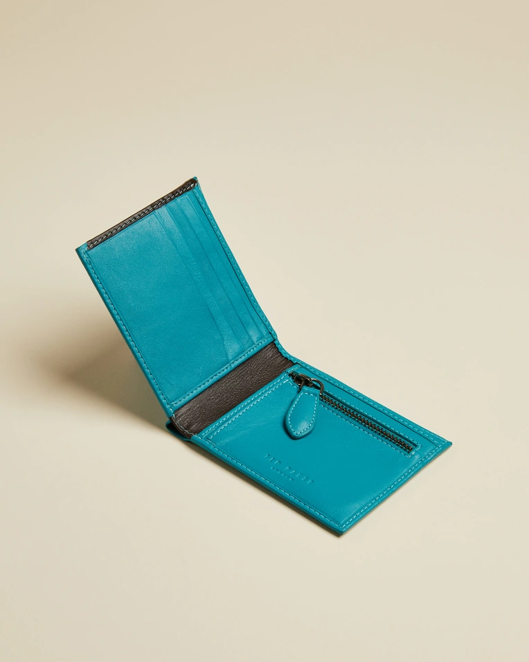 Leather Bifold Wallet- Teal
