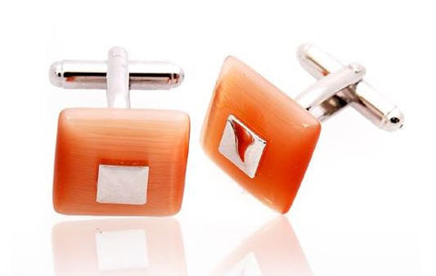 Square Stone Cufflinks in Peach