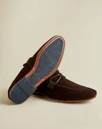 Suede Loafers with Tassel- Brown