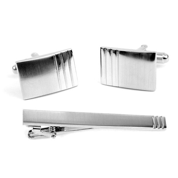 Brushed Cufflinks with Tie Bar