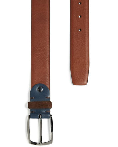 Ted Baker Leather Belt With Suede Detail- Brown