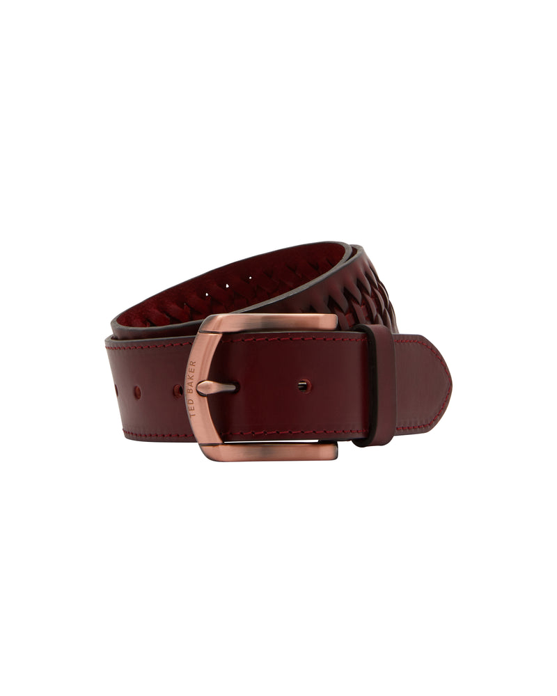 Woven Leather Belt- Dark Red