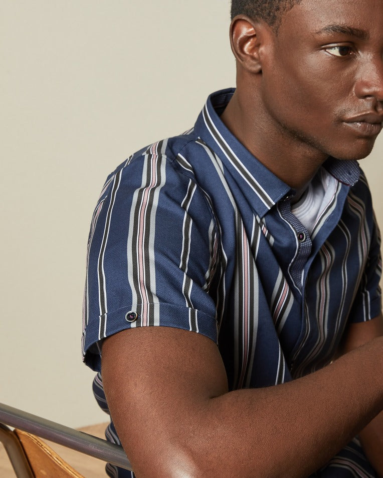 Striped Cotton Textured Short Sleeve Shirt - Navy