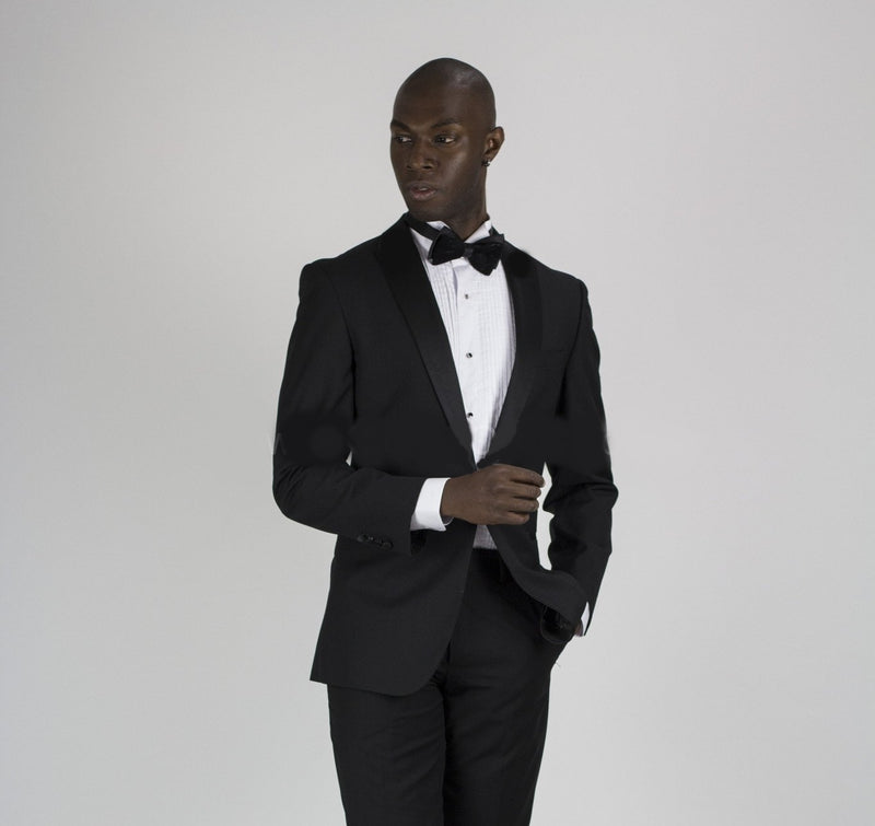 Single Button Shawl Lapel Tuxedo Jacket- Black