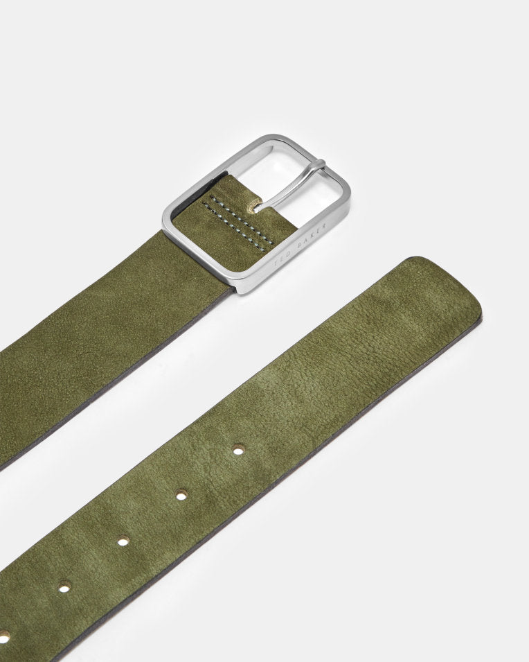 Nubuck Leather Belt - Olive