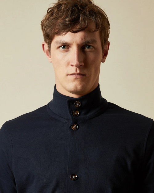 Cotton Funnel Neck Jacket- Dark Navy