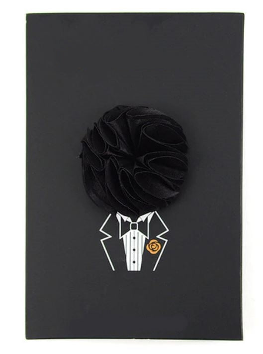 Solid Mini Boquet Floral Pin- Black