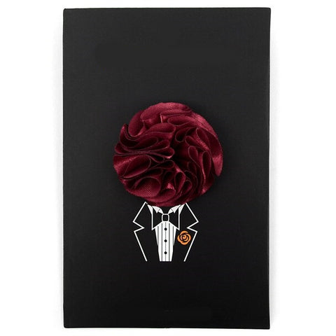 Solid Mini Boquet Floral Pin- Burgundy