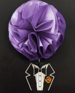 Lavender Piped Flower Lapel Pin