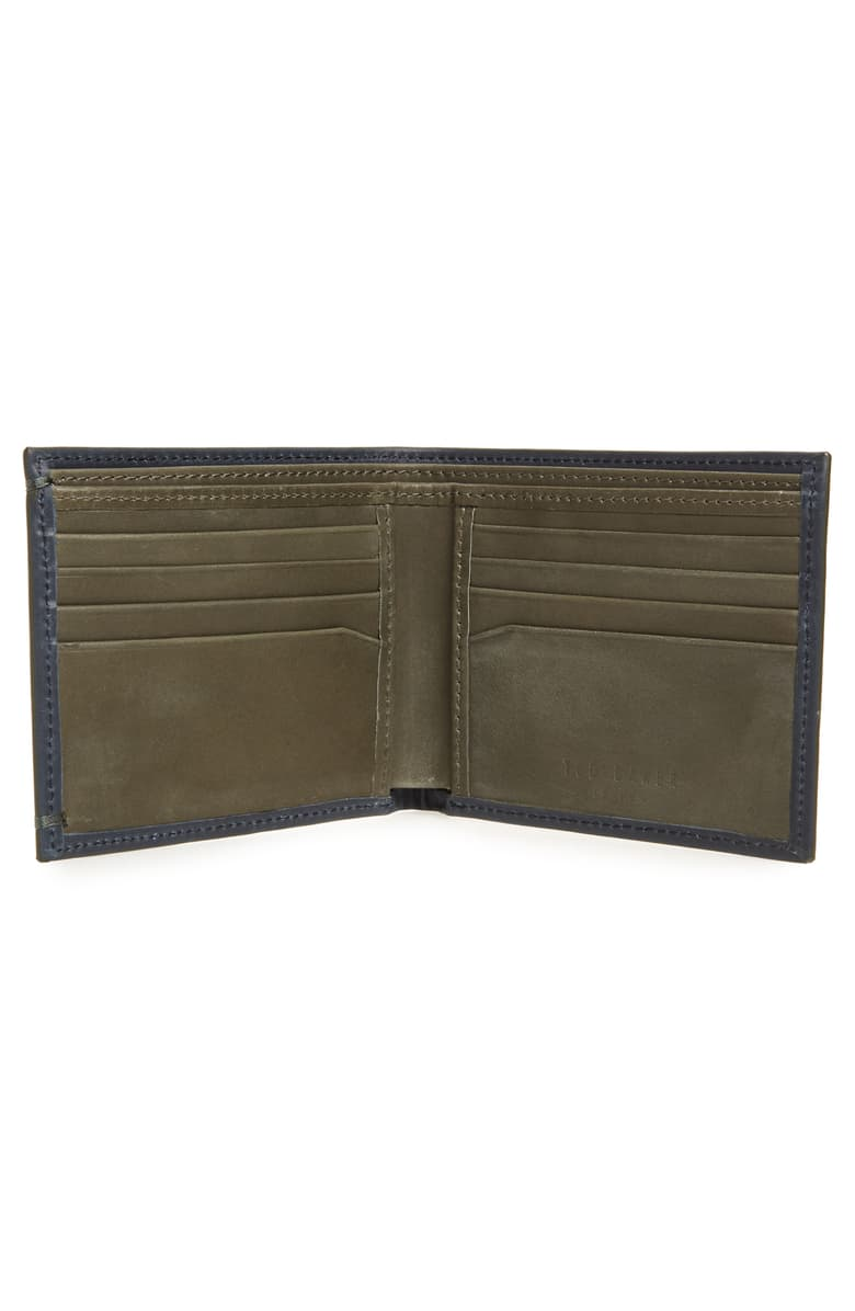 Waxed Suede Bifold Wallet- Navy
