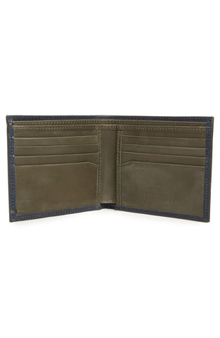Ted Baker | Waxed Suede Bifold Wallet- Navy
