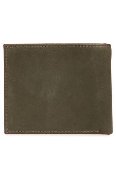 Ted Baker | Waxed Suede Bifold Wallet- Olive