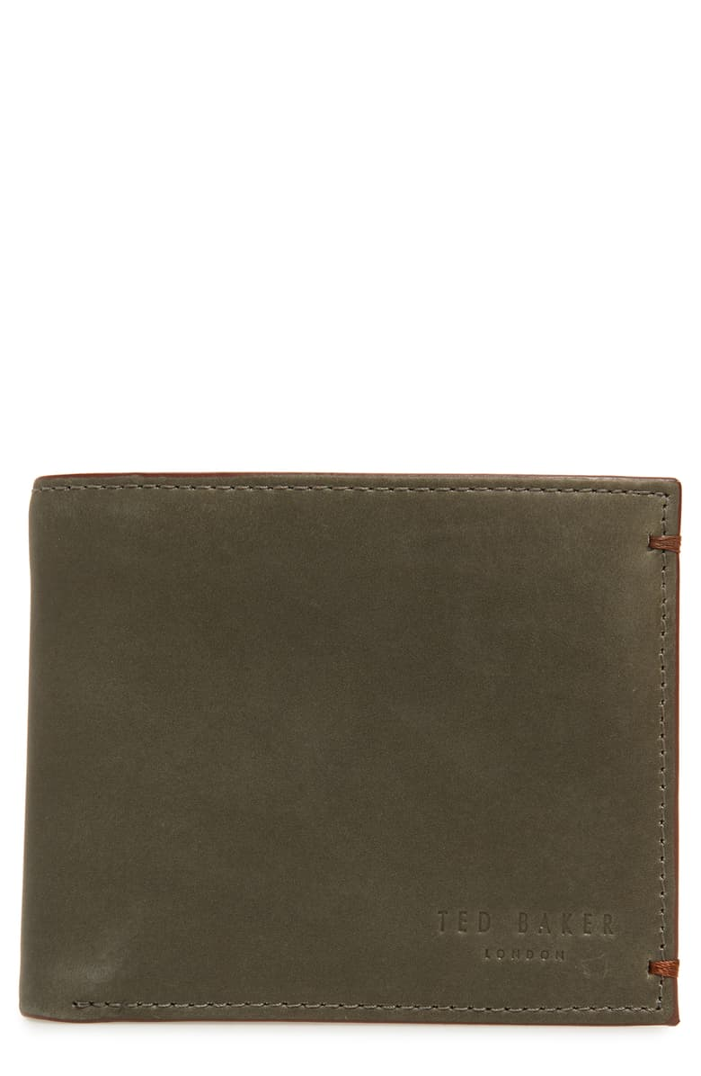 Waxed Suede Bifold Wallet- Olive