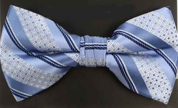 Striped Banded Bow Tie - Blue