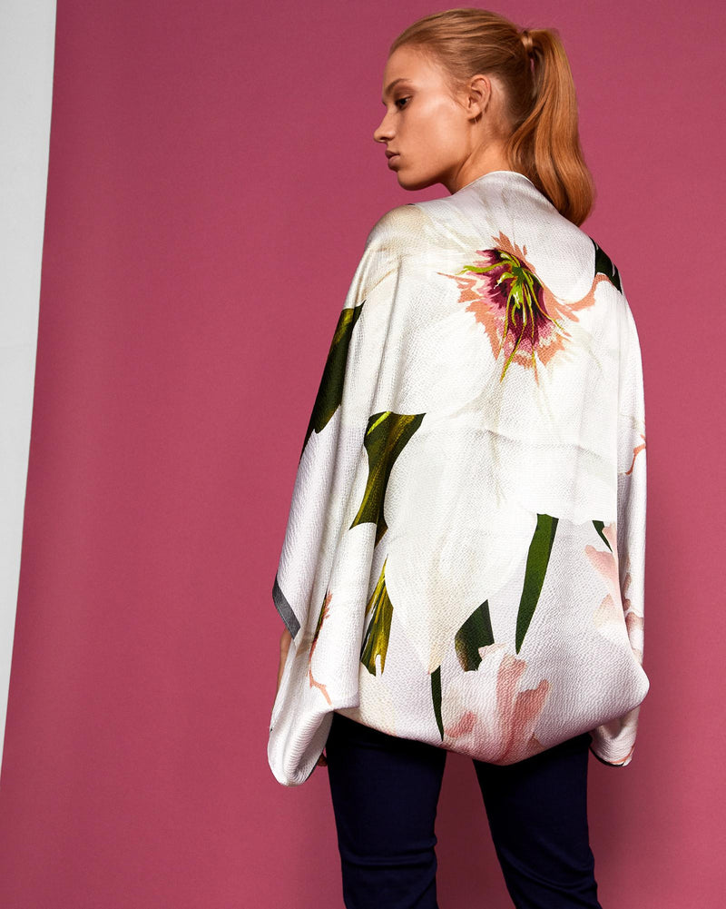 Floral Printed Silk Cape - Grey