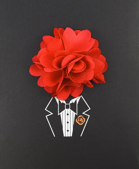 Floral Lapel Pin- Red