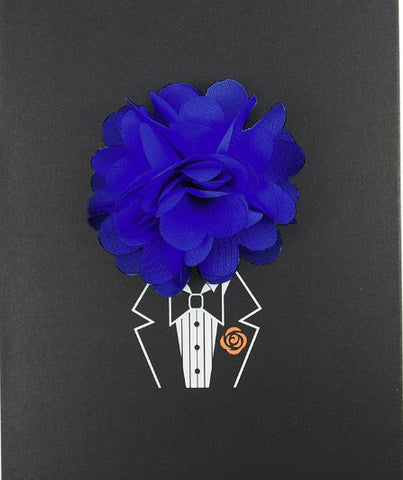 Floral Lapel Pin- Royal Blue