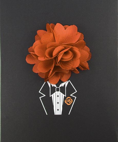 Floral Lapel Pin- Rust