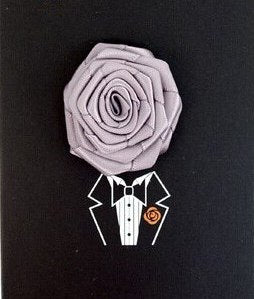 Solid Floral Lapel Pin- Grey