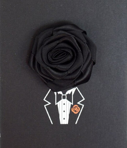 Solid Floral Lapel Pin- Black