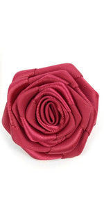 Solid Floral Lapel Pin- Burgundy