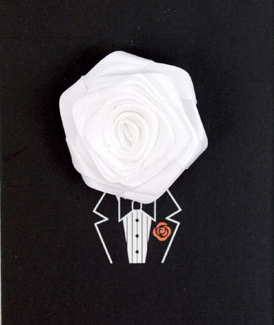 Solid Floral Lapel Pin- White
