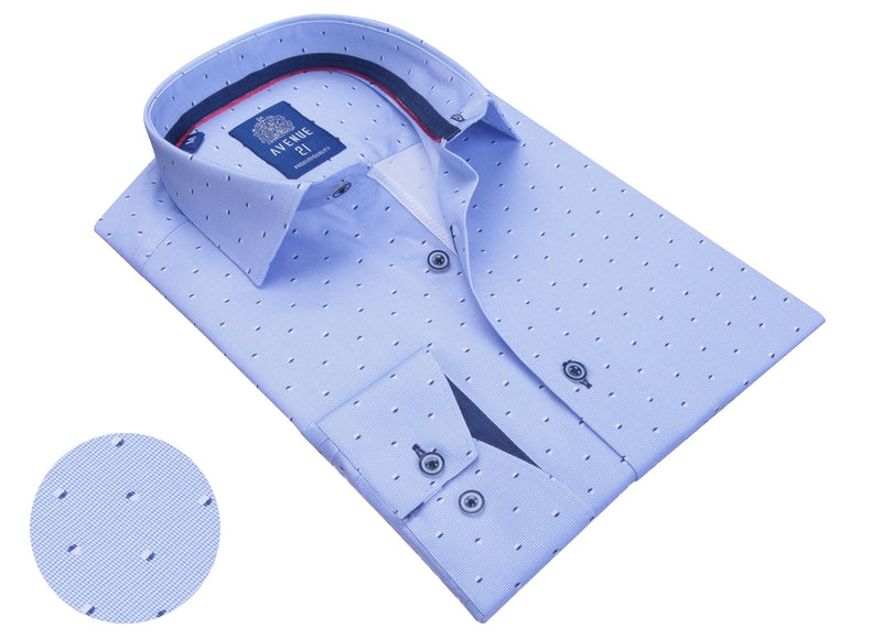 Square Pattern Long Sleeve Shirt- Light Blue