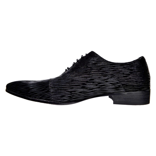 Shop Black on Black Leather Oxford Shoe at Dolce Moda. Free shipping USA wide. All over print design. Lace-up oxford.