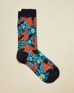 Cotton Floral Socks- Orange