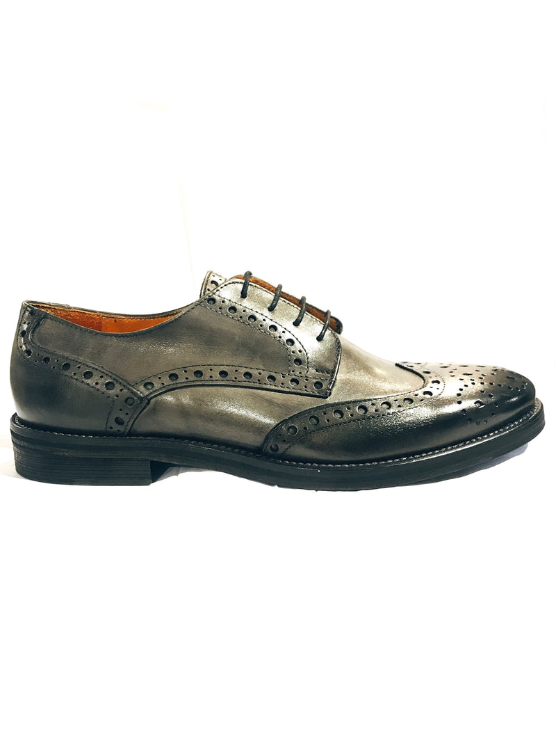Leather Wingtip Brogues- Grey