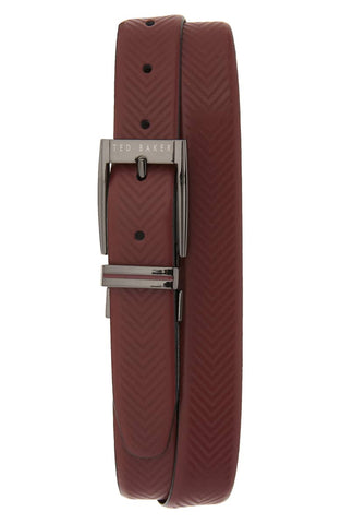 Ted Baker Herringbone Reversible Belt - Chocolate