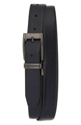 Ted Baker Herringbone Reversible Belt - Navy