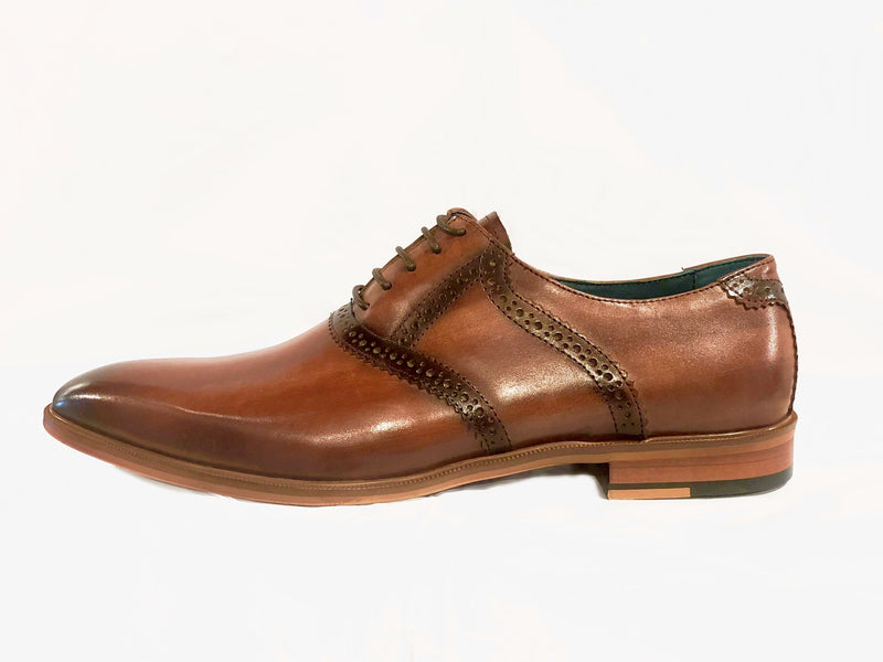 Burnished Leather Plain Toe Oxford Brogues- Brown