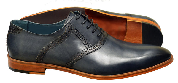 Burnished Leather Plain Toe Oxford Brogues- Blue