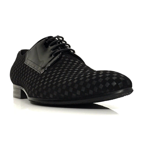 Shop Black Tone on Tone Oxford Shoe at Dolce Moda. Free shipping USA wide. Tone on Tone design, square print detail, suede & patent leather lace up.
