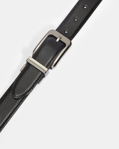 Ted Baker | Carbon Fiber Leather Belt- Black