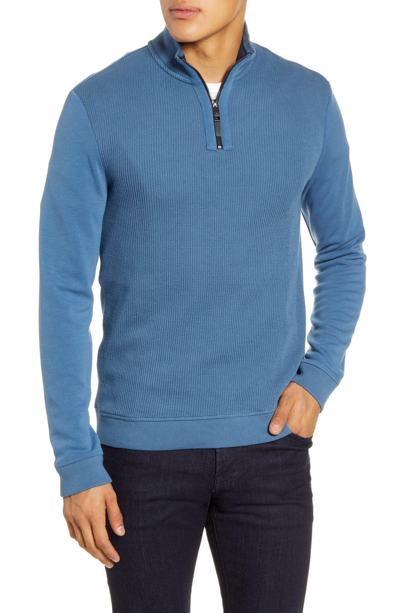 Half Zip Jersey Funnel Neck Pullover- Mid Blue