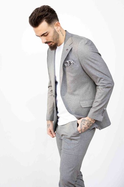 Half Lined Wide Notch Lapel Suit- Grey