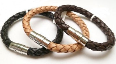 Thick Braided Leather Bracelet