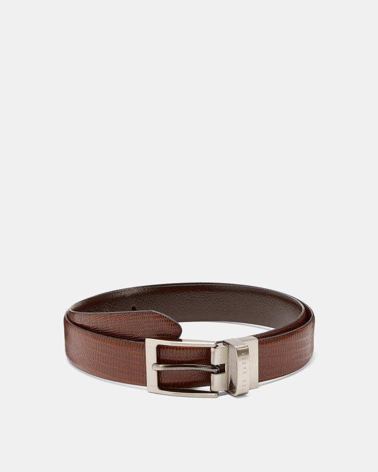Textured Reversible Leather Belt- Tan