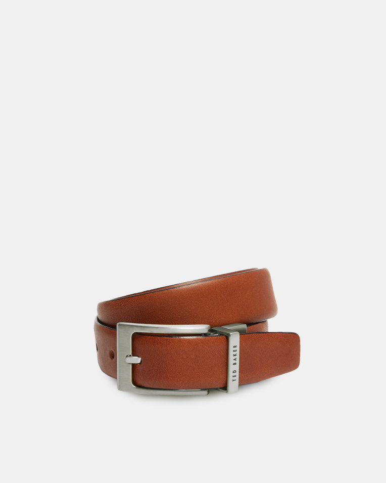 Reversible Leather Belt- Tan/Navy