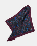 Paisley Print Silk Pocket Square- Navy