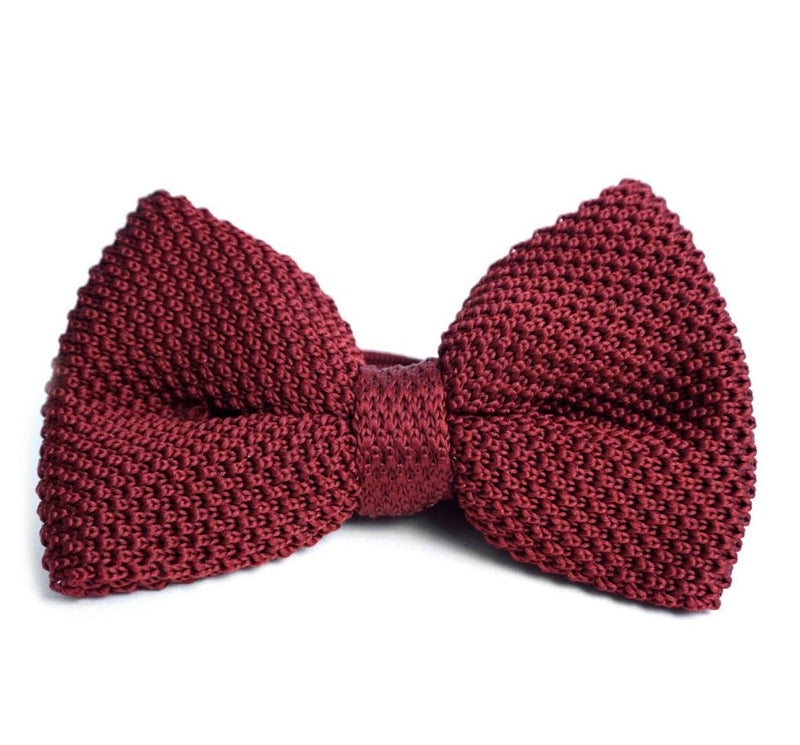Solid Knit Bow Tie- Burgundy