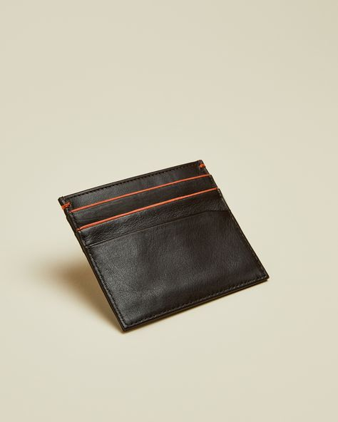 Highlight Detail Leather Cardholder- Brown